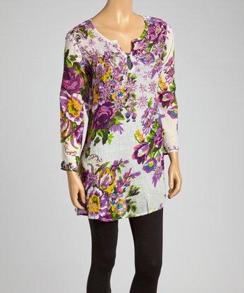Purple Wildflower Embroidered Tunic - Women