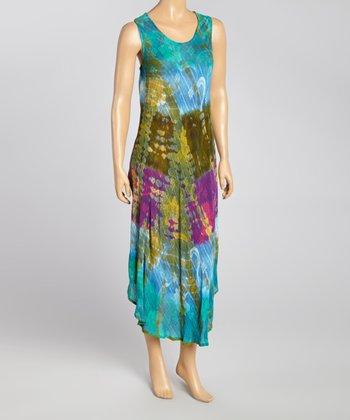 Turquoise Tie-Dye Floral Momo Dress - Women