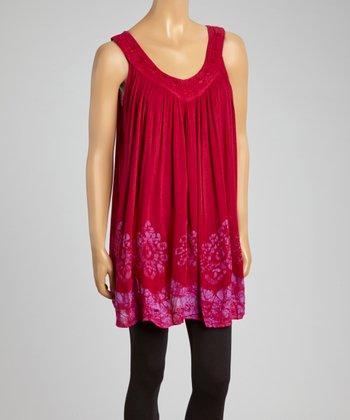 Raspberry Embroidered Shift Tunic - Women
