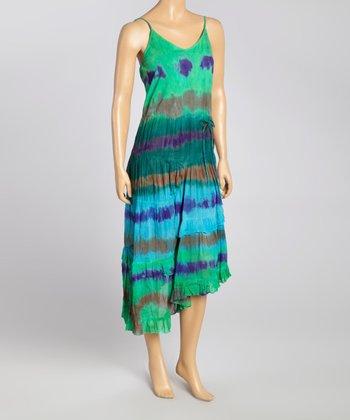 Turquoise & Purple Tie-Dye Maxi Dress - Women