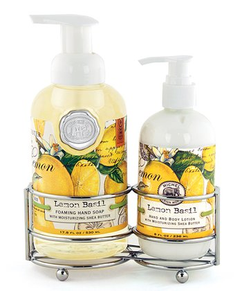 Lemon Basil Soap & Lotion Caddy Set