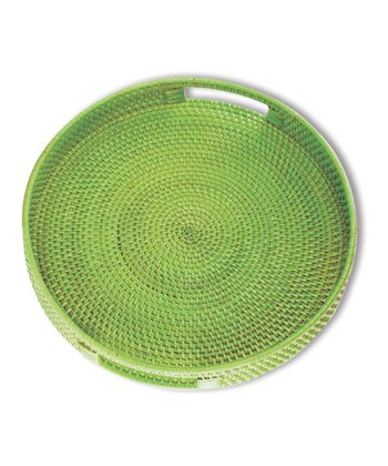 Green Willow Round Rattan Tray