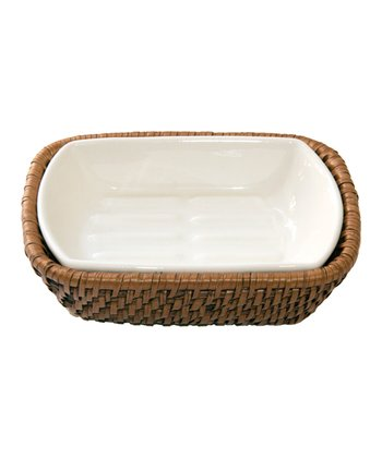 Ceramic Soap Dish & Rattan Holder