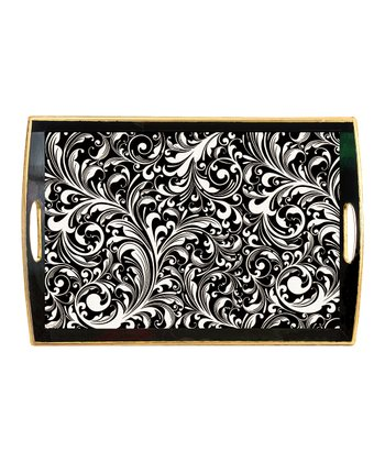 Black Florentine Handle Tray