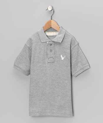 Heather Gray Eagle Polo - Boys