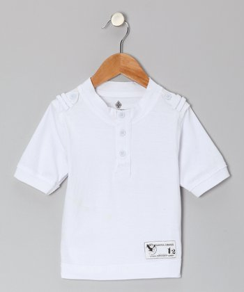 White Henley - Toddler & Boys