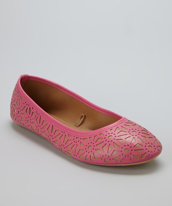 Fuchsia & Nude Perforated Flat
