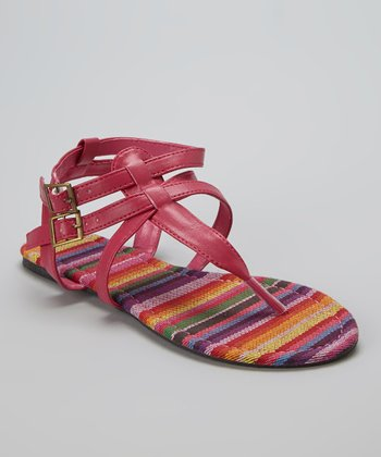 Fuchsia & Purple Two-Buckle Sandal