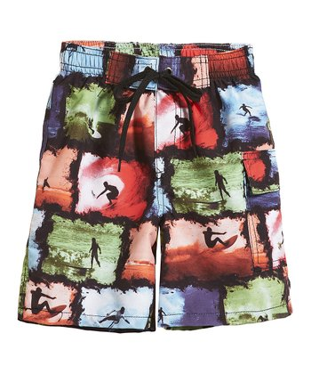 Black Surf Collage Boardshorts - Infant, Toddler & Boys
