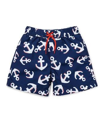 Little Me Navy & White Anchor Swim Trunks - Infant