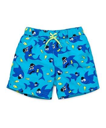 Little Me Blue & Yellow Shark Swim Trunks - Infant