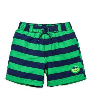 Little Me Green & Navy Stripe Frog Swim Trunks - Infant