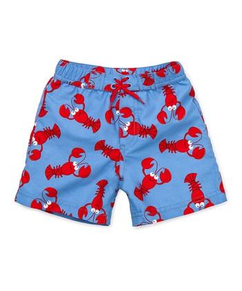 Little Me Blue & Red Lobster Swim Trunks - Infant