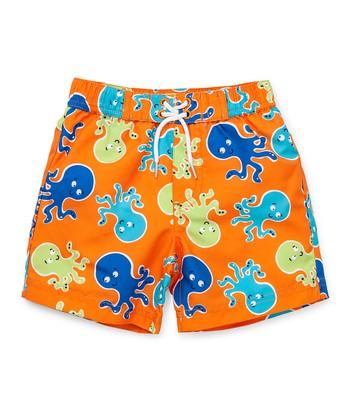 Little Me Orange & Blue Octopus Swim Trunk - Infant