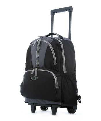 Black Double-Front Pocket Rolling Backpack