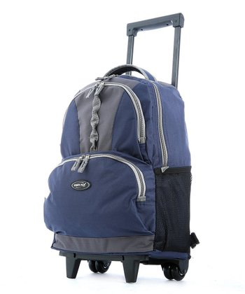 Navy Double-Front Pocket Rolling Backpack