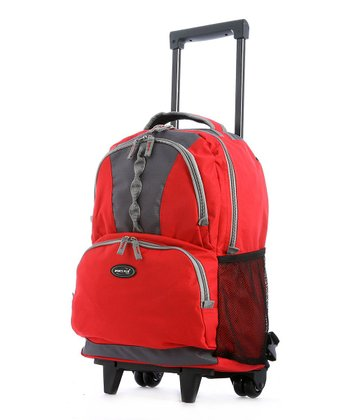 Red Double-Front Pocket Rolling Backpack