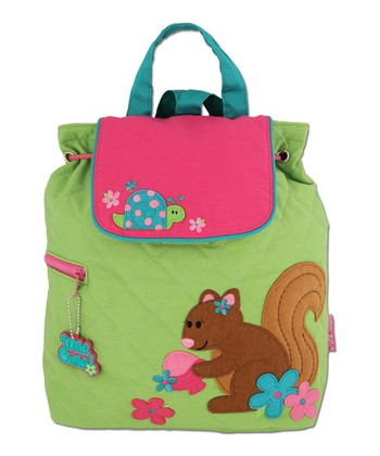Green Squirrel Quilted Backpack