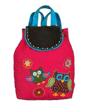 Hot Pink Owl Quilted Backpack