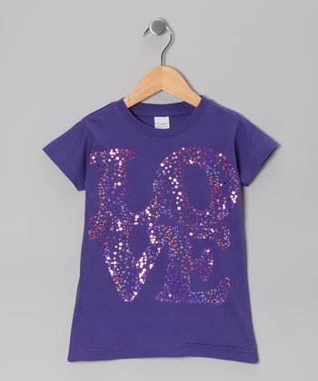 Purple Sequin 'Love' Tee - Toddler & Girls