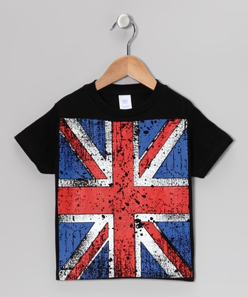 Black British Flag Shot-Sleeve Tee - Infant & Toddler