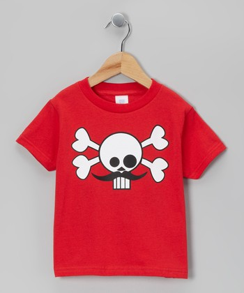 Red Skully Stache Tee - Infant, Toddler & Boys