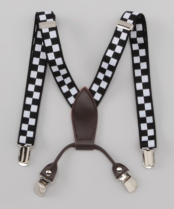 Black & White Checkerboard Suspenders