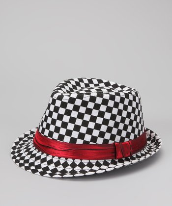 Black & White Checkerboard Fedora