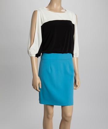 Sandra Darren Turquoise & Black Crepe Cutout Dress