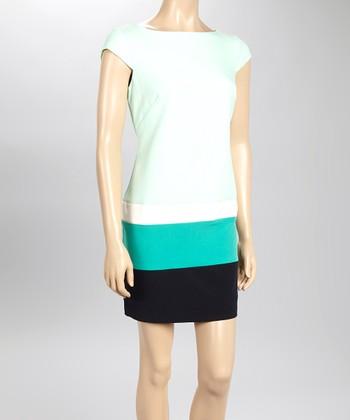 Sandra Darren Mint & Navy Crepe Cap-Sleeve Dress
