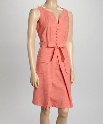 Sharagano Coral Sleeveless Shirt Dress