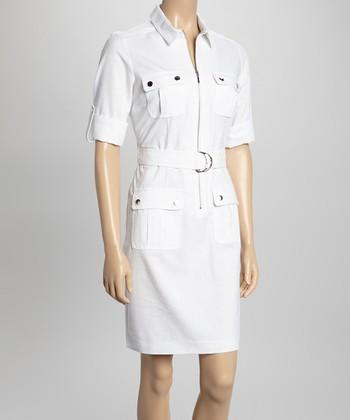 Sharagano White Short-Sleeve Shirt Dress