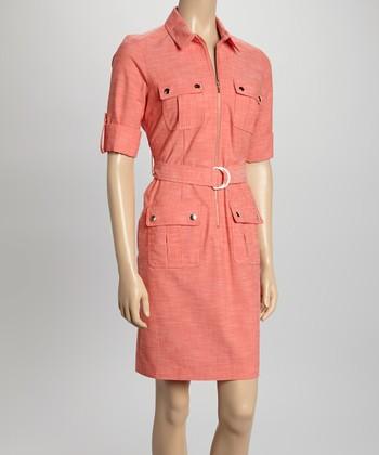 Sharagano Coral Short-Sleeve Shirt Dress