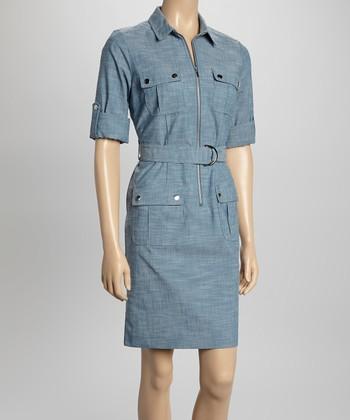 Sharagano Chambray Short-Sleeve Shirt Dress