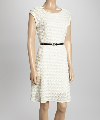 Sharagano Ivory Textured Belted Cap-Sleeve Dress