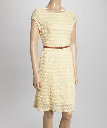 Sharagano Yellow Textured Belted Cap-Sleeve Dress