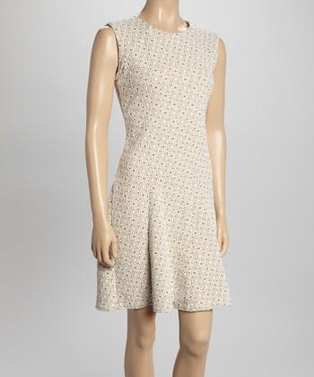 Sharagano Tan Circle Sleeveless Dress