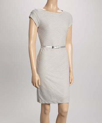 Sharagano Steel Wave Belted Cap-Sleeve Dress