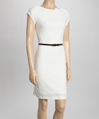 Sharagano Ivory Wave Belted Cap-Sleeve Dress