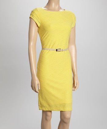 Sharagano Yellow Wave Belted Cap-Sleeve Dress