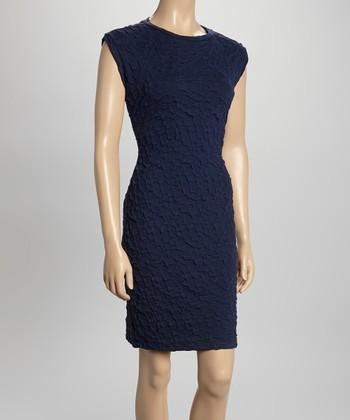 Sharagano Navy Textured Sheath Dress