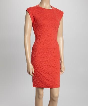 Sharagano Coral Textured Sheath Dress