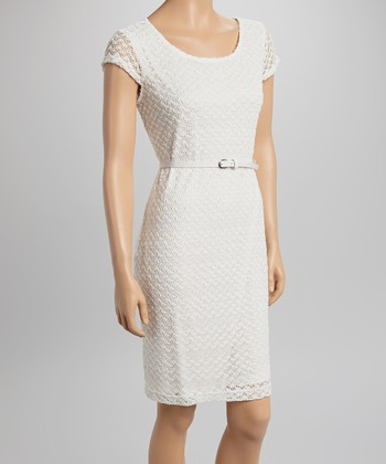 Sharagano Ivory Lace Belted Cap-Sleeve Dress