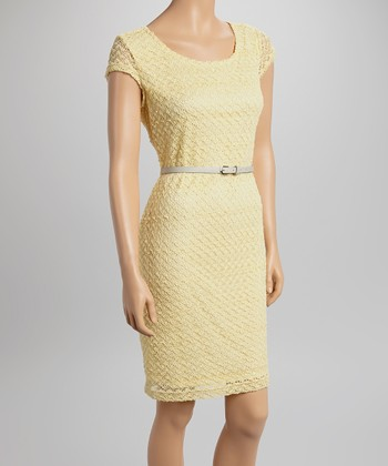 Sharagano Yellow Lace Belted Cap-Sleeve Dress