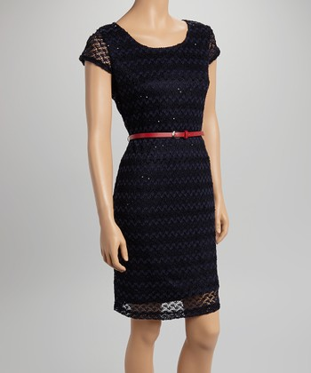 Sharagano Navy Lace Belted Cap-Sleeve Dress