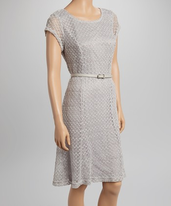 Sharagano Gray Lace Belted Cap-Sleeve Dress