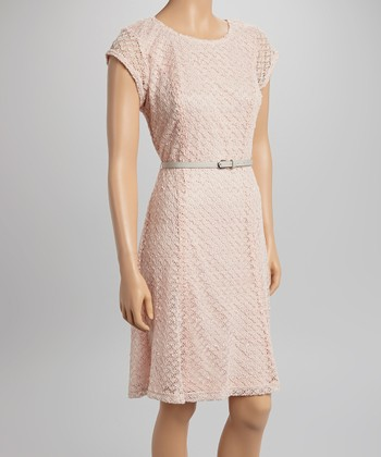 Sharagano Pink Lace Belted Cap-Sleeve Dress