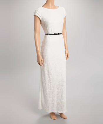 Sharagano Ivory Wave Belted Cap-Sleeve Maxi Dress