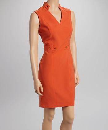 Sharagano Spring Orange Studded V-Neck Sheath Dress