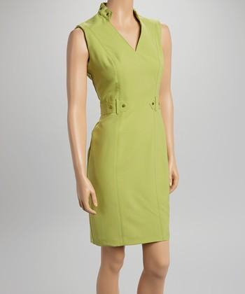 Sharagano Spring Avocado Studded V-Neck Sheath Dress